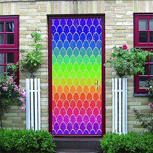 HRKDHBS 3D Deur Muurschildering Kleur Foto Muurstickers 3D Muurstickers Geschikt Voor Familie Voordeur Wanddecoratie Muurschilderingen 88X200Cm