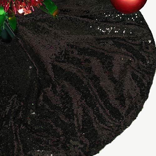AMZLOKAE Sequin Tree Skirt 36 Inch Black Christmas Tree Skirt Glitter Halloween Tree Skirt Xmas Tree Skirt Sparkle Christmas Tree Skirt Holiday Decorations Tree Skirt Kit