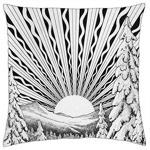 136 Solståndet vinter december snölandskap sol prydnadskudde fodral dekorativ kudde kuddfodral prydnadskudde överdrag för sovrum dekor soffa soffa 45 x 45 cm