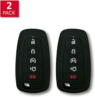 Autobase Silicone Key Fob Cover for Ford Fusion F150 F250 F350 F450 F550 Edge Explorer Mustang F-150 Raptor | Car Accessory | Key Protection Case 2 Pcs (Black)