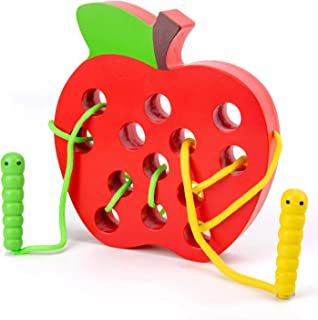 Wooden Apple Lacing Toy with 2 Worms, WOOD CITY Fine Motor Skills Toys, Airplane Travel Toys, Apple Threading Game Early Learning Montessori Toys for Toddlers 1 2 3 Years Old