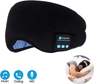 Bluetooth Sleep Eye Mask Wireless Headphones, TOPOINT Sleep Headphones Bluetooth 5.0 Eye Mask for Sleeping Travel Music Eye Cover with Microphone Handsfree, Birthday Gifts for Women Men Black