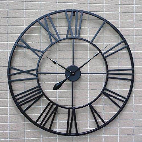 ZHUNSHI Amerikaanse ronde muur klok smeedijzer vintage Romeinse klok creatieve industriële wind bars cafes ingericht de woonkamer muur klok,80cm,A