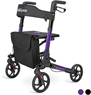OasisSpace Lightweight Alumium Rollator Walker- Rollator Walker with 8-inch Wheels Supports up to 300 lbs with Back Support (Black) (Violet)