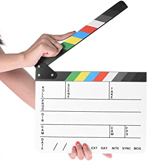 Professional Studio Camera Photography Video Acrylic Clapboard Dry Erase Director Film Movie Clapper Board Slate with Color Sticks(9.6x11.7