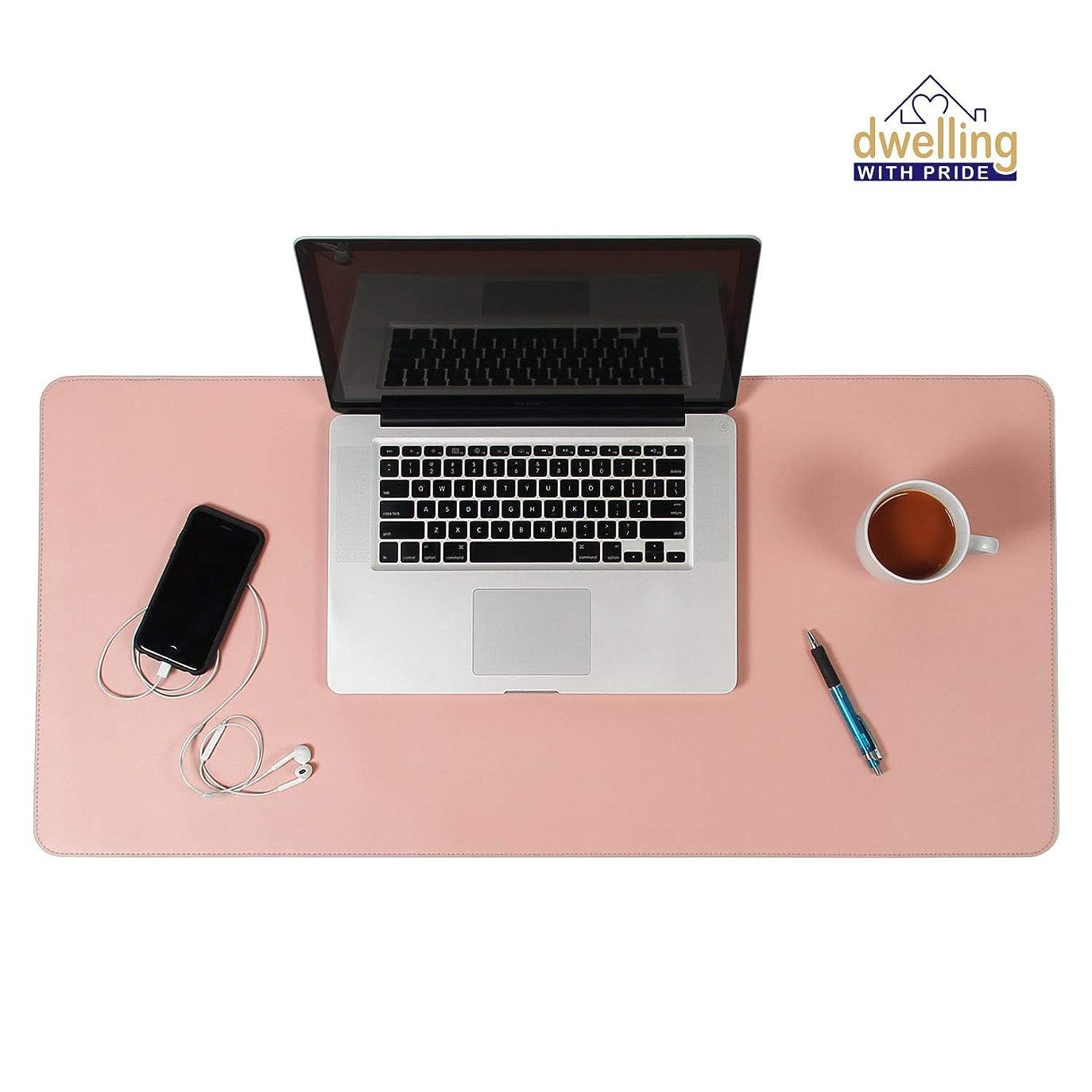 織機男らしさ不愉快デスクマット ピンク&ブルー 17x36 | コンピュータ ノートパソコン キーボード & マウスパッドオーガナイザー | レザーカバー オフィステーブルプロテクター | 両面ゲーム面 カラー付き | タイピング&ライティングアクセサリー