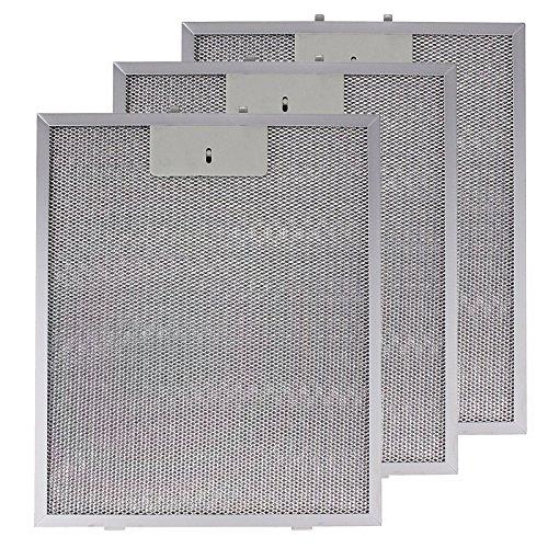 SPARES2GO Metalen gaasfilter voor IKEA afzuigkap/afzuigkap/afzuigkap Ventilator (Pak van 3 Filters, Zilver, 320 x 260 mm)