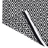 Alfombra en Blanco y Negro - Decoración de Sala de Estar Rectangular de algodón con patrón de Diamantes 86 x 53 cm con alfombras de Trapo