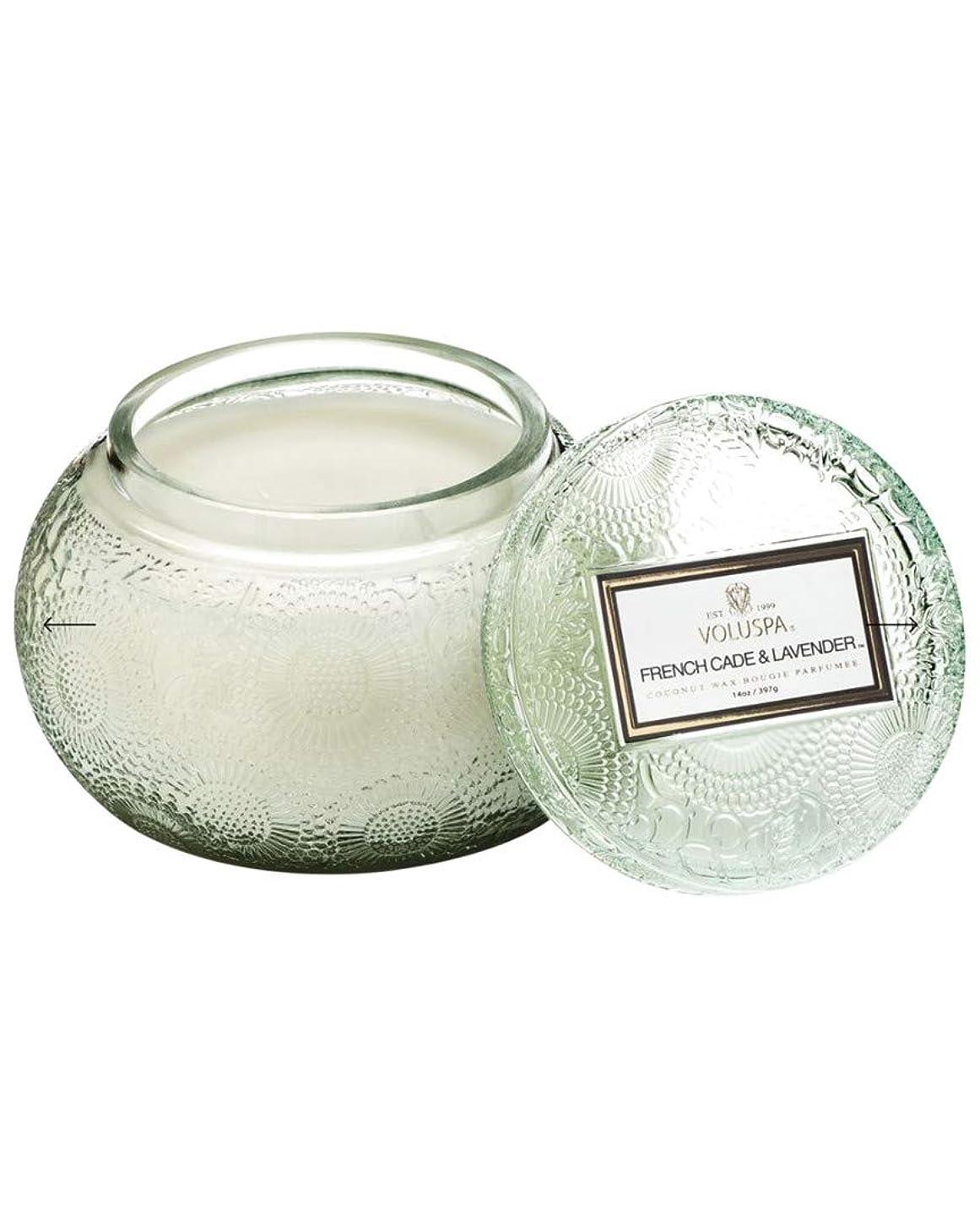 寝るオンスレギュラーVOLUSPA チャワングラスキャンドル French Cade Lavender フレンチケード&ラベンダー GLASS CANDLE ボルスパ