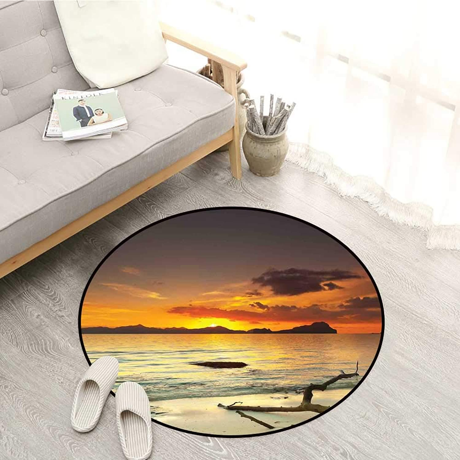 Nature Living Room Round Rugs Sunset Over The Island Dry Tree Distant Hills Sandy Shoreline Vacation Destination Sofa Coffee Table Mat 4'11  Mauve Yellow