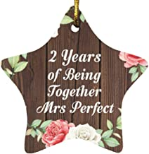 2nd Anniversary 2 Years of Being Mrs Perfect - Star Wood Ornament A Christmas Tree Hanging Decor - for Wife Husband Wo-Men...