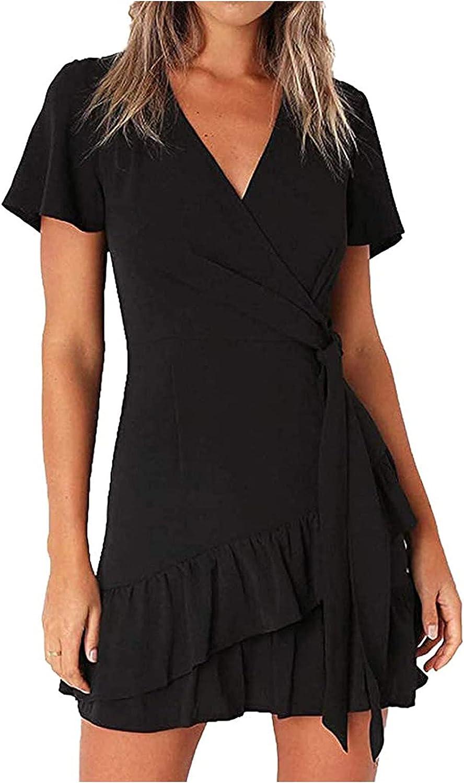 NLLSHGJ Womens Dresses for Summer Wrap V Neck Ruffle Formal Short Sleeve Mini Cocktail Dress with Belt Sundresses