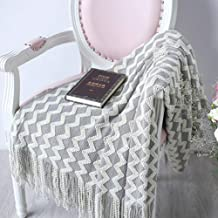 Knitted Sofa Throw Blanket with Tassels Air Condition Travel Acrylic Portable Blanket 120x230cm Grey Yellow Black Grey