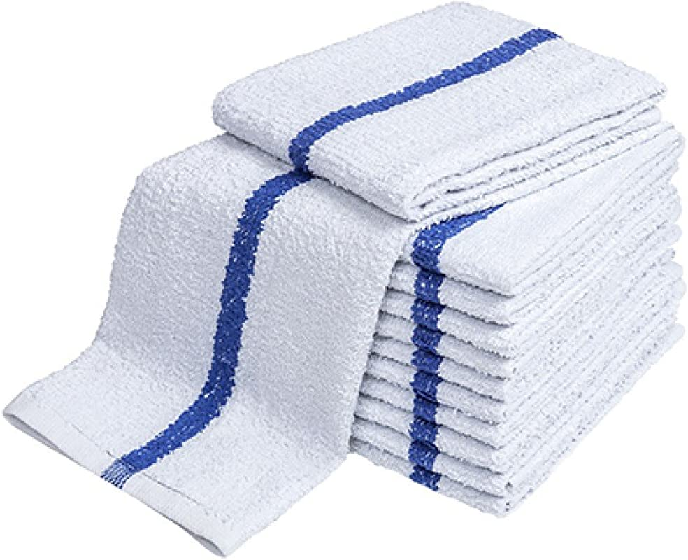 Atlas Blue Stripe Towels Kitchen Bar Mop Cleaning ECONOMY Towels 24 Pack 16x19 White Cotton Kitchen Towels Bulk Barmops For Resaturant General Cleaning Shop Towels And Rags Eco Friendly