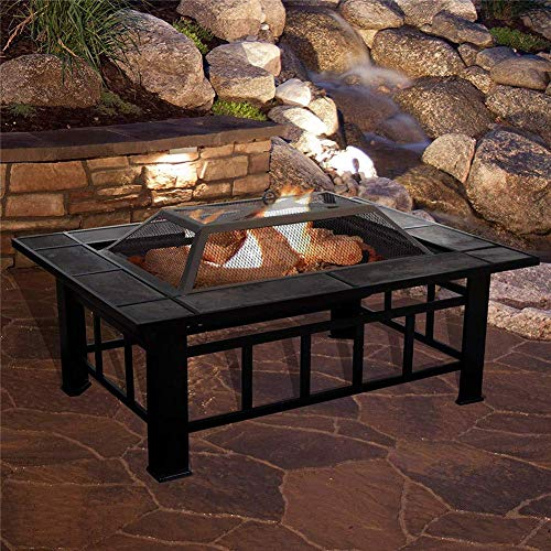 Fire Pit Table Outdoor, Metal Firepit Square Table Backyard Patio Garden Stove Wood Burning Fire Pit, Log Poker and Cover