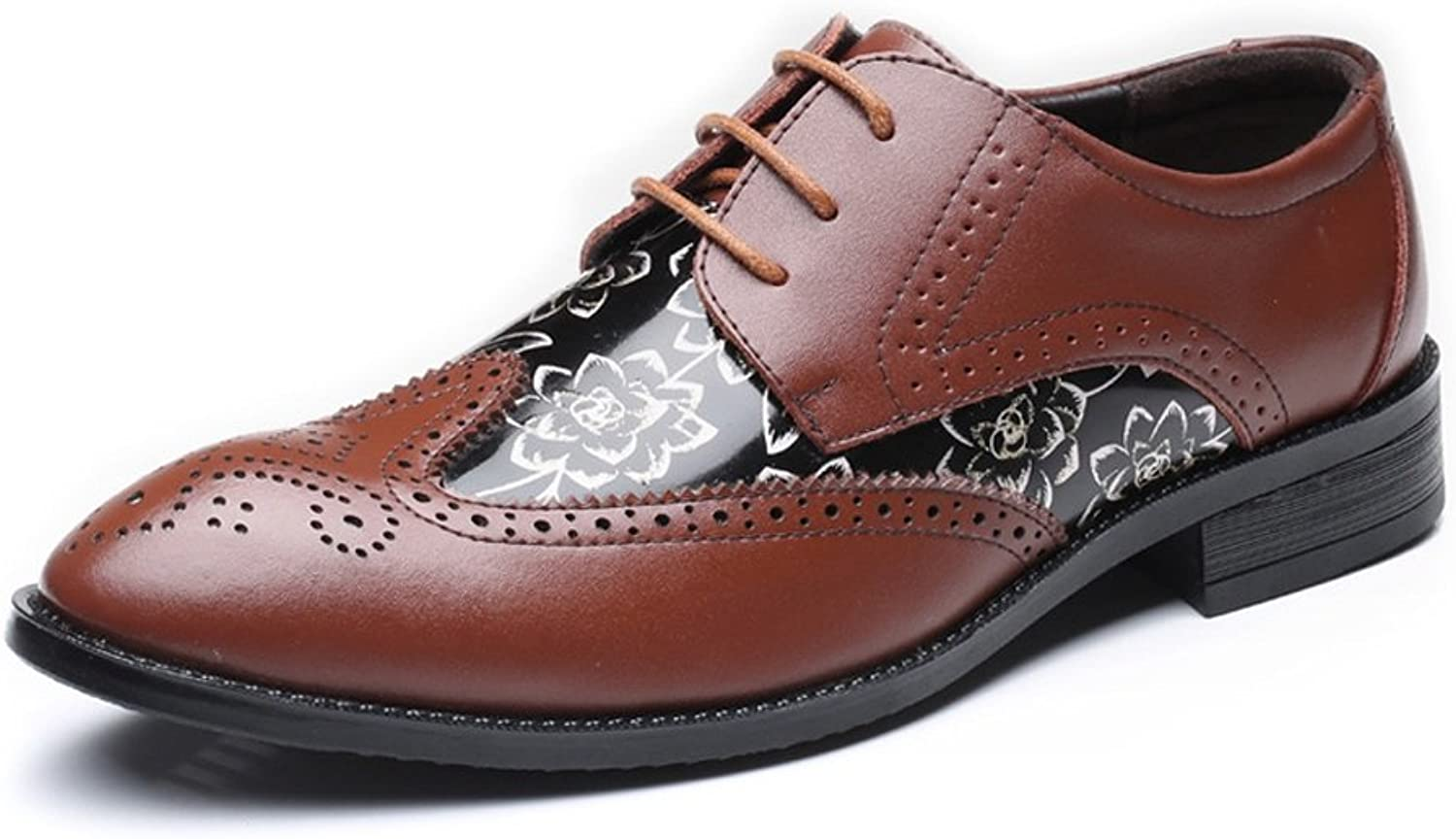 JIALUN-shoes Fashion Men's Brogue Loafer shoes Wingtip Hollow Carving Splice Smooth Flower Pattern PU Leather Lace Up Lined Oxfords UP to 11.5MUS