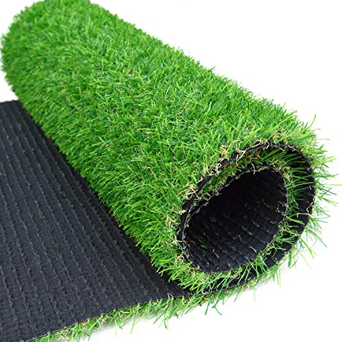 RoundLove Artificial Grass Turf Patch, 1' 4 Tone Synthetic Grass Mat w/Drainage Holes & Rubber Backing, Lush & Hard Pet Turf Astroturf Rug, Fake Turf for Indoor & Outdoor Patio Decor