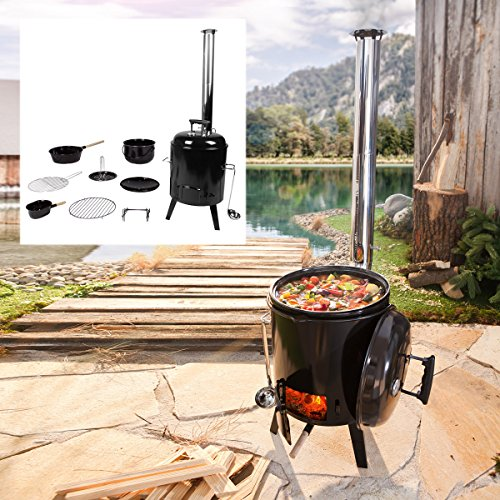 BRAST Eintopfofen mit Grillfunktion Ofen Kugelgrill Barbecue Grill Outdoor-Küche Gulaschkanone Suppenkessel Hähnchenbräter Ungarischer Gulaschkessel aus Stahlblech emailliert Dreibein inkl. Zubehör