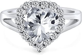 Statement 3CT AAA CZ Brilliant Cut Heart Shape Halo Promise Engagement Ring For Women .925 Sterling Silver High Profile Se...