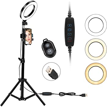 Brillo Regulable Anillo de Luz led,10 Ring Light 3200-6500K Temperatura de Color para Movil fotografia Control Remoto Inalambrico Youtube,y Selfie Video de Maquillaje 0/%-100/%