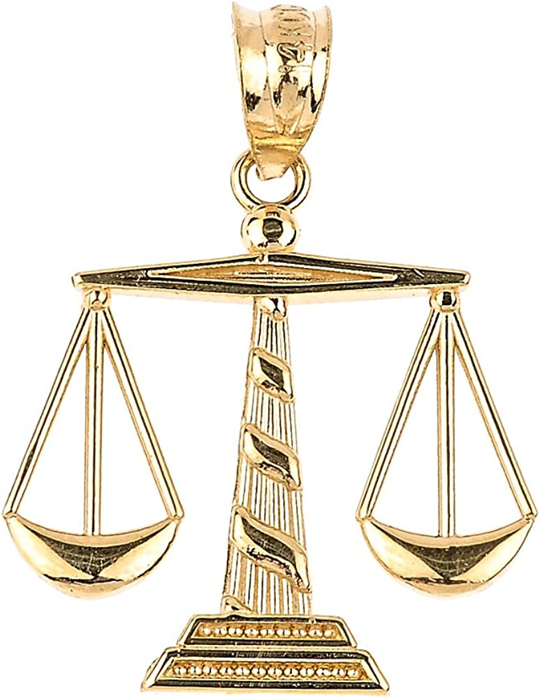 10k Yellow Gold Scales of Justice Necklace Pendant