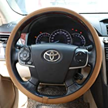 Steering Wheel Cover-Universal 15 Inch Steering Wheel Cover for Car Truck SUV fit Nice and Install Easy (Brown with Brown line)