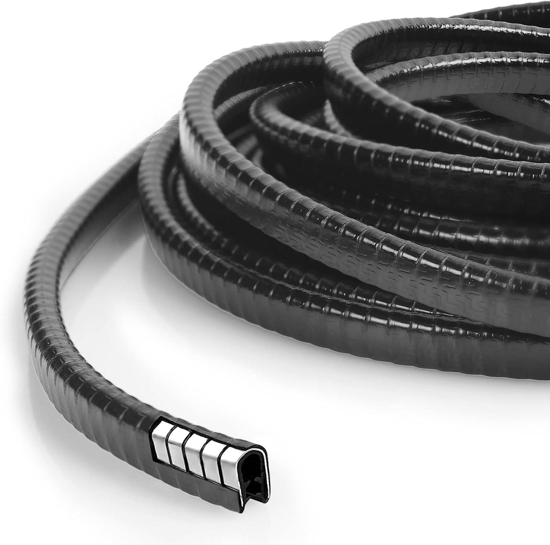 URAQT Protector de Puerta de Coche 5.5M U Forma Protector de Borde de Automóvil Tira Coche Sellado de Goma Coche Tira Sello Puerta Parachoques de para Evitar Arañazos Marco de Puerta -Negro
