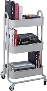3-Tier Metal Mesh Utility Rolling Cart Storage Organization Cart with Wheels, Light Gray