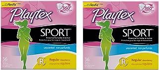 Playtex Sport qLBAj Unscented Tampon, Regular Absorbency, 36 Count (2 Pack)