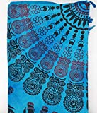 Goodforgoods Decoración de Mandala y Elefantes Multi usos: Pareo Grande Playa, tapicerías Sofa, Mesa, sillón, decoración Pared. 100% algodón. 260x206 cm. (Azul Celeste)
