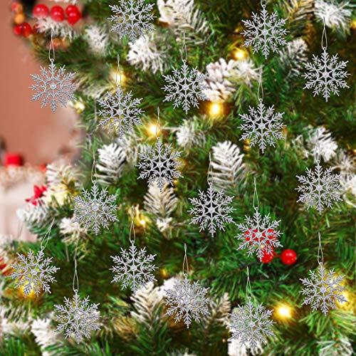 TaimeiMao 24Pcs Weihnachten Schneeflocken,Schneeflocken Deko,Glitter Schneeflocken Deko,Schneeflocke Weihnachtsbaumschmuck,Weihnachten Schneeflocken Anhänger,Weihnachtsbaum Deko (Silber)