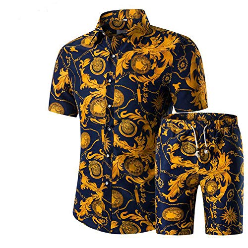 Men's Floral Tracksuit Casual 2 Piece Short Sleeve Shirt and Shorts 06-M