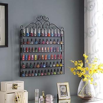 DAZONE DIY Mounted 6 Shelf Nail Polish Wall Rack Organizer Holds 120 Bottles Nail Polish or Essential Oils Black