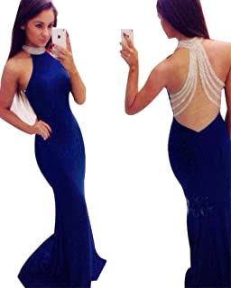 2dc50f81a1 YuNuo Sparkly Crystal Beading Prom Dresses Long 2019 Sexy Open Back Party  Ball Gown Scoop Bridesmaid