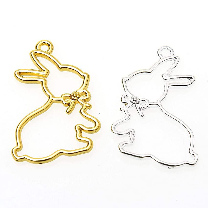 Monrocco 10Pcs Alloy Open Bezel Charms Rabbit Bunny Blank Frame Hollow Mould Pendants Cartoon DIY Crafts for UV Resin Crafts Jewelry Making