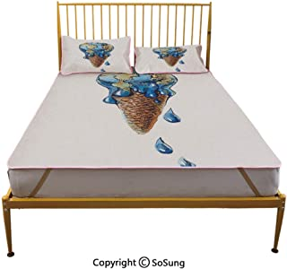 Ice Cream Decor Creative King Size Summer Cool Mat,Ice Cream with Globe Planet Earth Flavor Ecological Graphic Decorative Sleeping & Play Cool Mat,Light Caramel Violet Blue