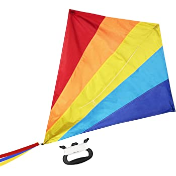"""WISESTAR Large 47"""" Diamond Rainbow Kite for Kids and Adults with 164FT Kite String & Handle - Premium Ripstop Fabric, Easy to Assemble & Fly, Great Beginner Kite Toy for Beach & Outdoor Activities"""