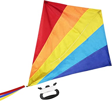 """WISESTAR Large 47"""" Diamond Rainbow Kite for Kids and Adults with 164FT Kite String & Handle - Premium Ripstop Fabric, Easy to"""
