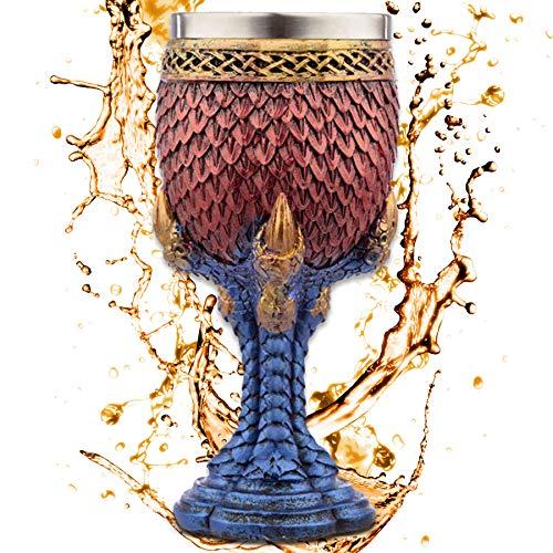 Cáliz ''Egg of the Azur Dragon'' - Huevo escamoso en garra de dragón azul - Copa de vino (160ml) - Decoración medieval fantasía fantástico Fantasy