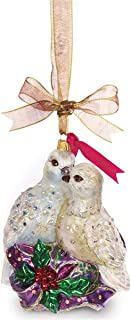 Jay Strongwater Blown Glass Two Turtle Doves (Wedding, Anniversary, 12 Days of Christmas) Glass Christmas Ornament