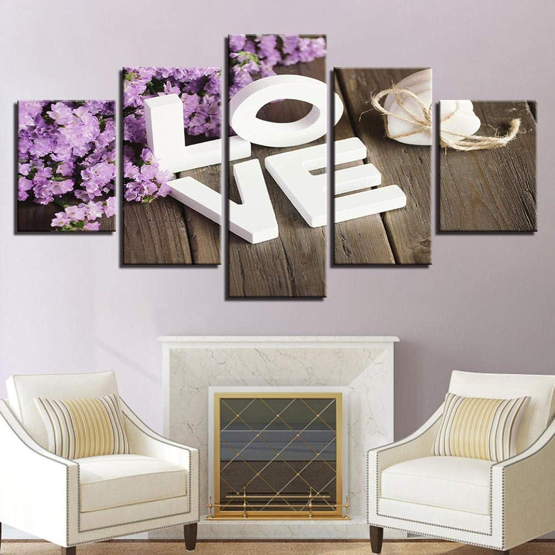 YHEGV - Impression sur Toile - 5 Panneaux - Décoration Murale - Décoration Florale pour Le Salon - B1 - sans Cadre, Framed, 30x40 30x60 30x80