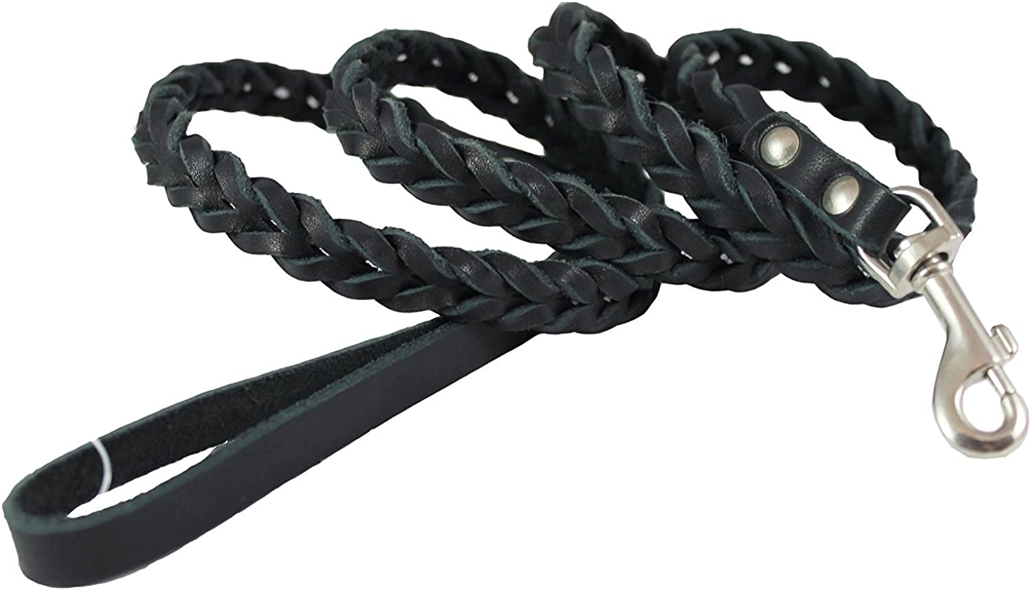Genuine Fully Braided Leather Dog Leash 4 Ft Long 3 8  Wide, Small Breeds