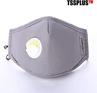 TSSPLUS PM2.5 Anti Cotton Haze Mask Breath Valve Anti-dust Mouth Mask Activated Carbon Filter Respirator Mouth-muffle Mask Face (Random Color)