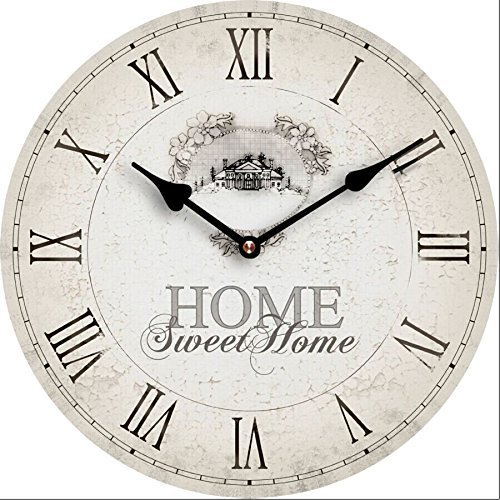 Tinas Collection Wanduhr rund mit einem Durchmesser von 30cm, dekorative Küchenuhr, Quarzuhr mit Aufhängung (Home Sweet Home)