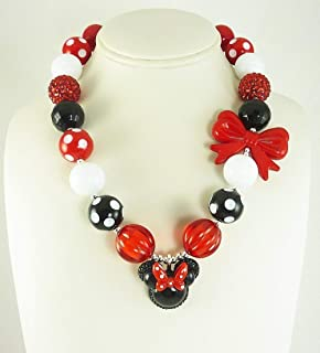Bubblegum Necklace with Add-On Bracelet, Teen Girl's 18 inch Chunky Beaded Neck wear, Woman's 22-24 inch Red and Black Minnie Mouse Inspired Pendant, Adult Fashion Jewelry, USA.