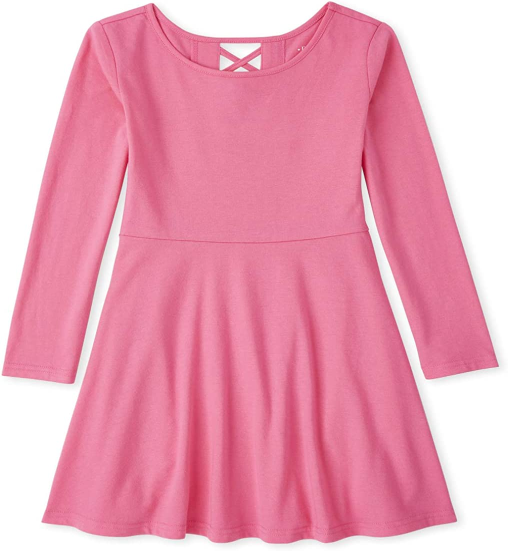 The Children's Place Girls' Long Sleeve X Back Dress