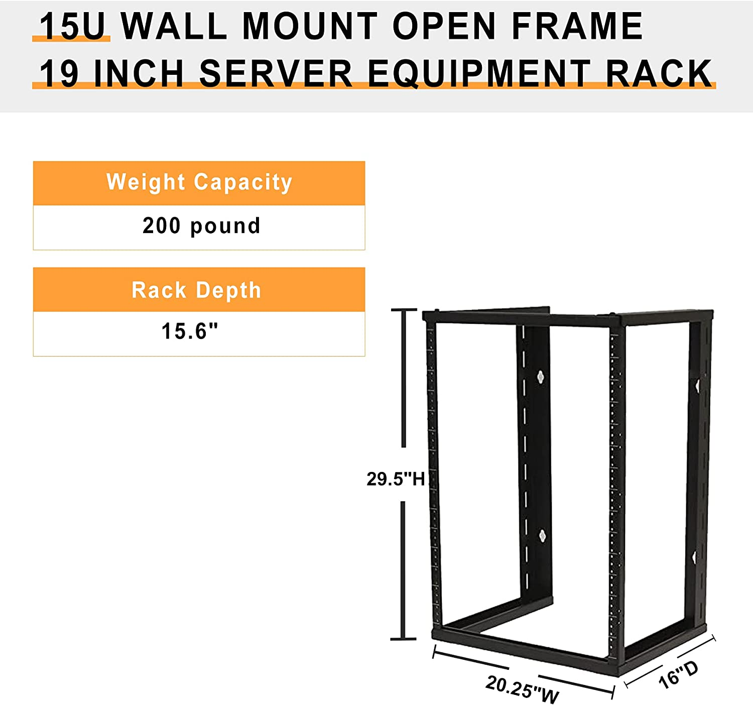 Black,15U 19 Inch Server Wall Mount Open Frame Equipment Rack,with Threaded.