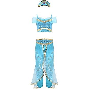 MSemis Disfraz Princesa Jazmín para Mujer Cosplay Lámpara Aladino ...