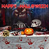 PERFETSELL 2 Stücke Halloween Tischdecke Blutige Halloween Tischdeko 260*130cm Handabdruck Tischtuch für Karneval Fasching Halloween Party Dekoration - 5