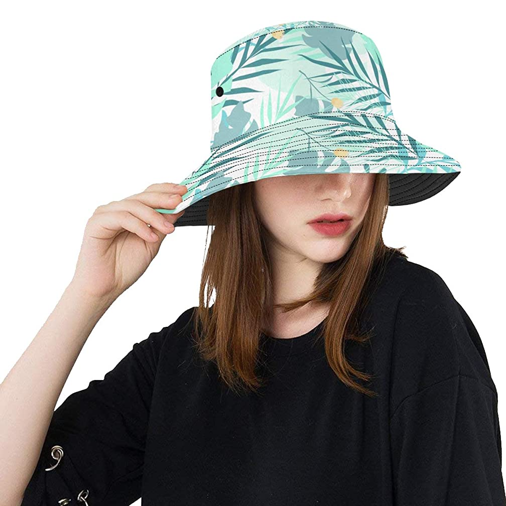 オセアニア中級ファンシーCYDBQ Uvカット帽子 ミントグリーンの花 バケットハット サンバイザー 日よけ 日焼け止め レディース 女子 綿 つば広 おしゃれ 折りたたみ 春夏 ストローハット アウトドア 旅行 トラベル 紫外線対策 遮光 吸汗速乾 小顔効果抜群